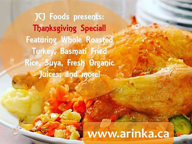 Rejoice! It's going to be a special Thanksgiving, courtesy of JCJ Foods!  Order from the special Thanksgiving meal packages, featuring Coconut Rice, Spaghetti Delite, Whole Roasted Spicy Turkey, Suya, Stewed Fried Fish, Fresh Organic Juice, and even more tasty dishes! Order  by October 5 for delivery on Thanksgiving Sunday. (check bio for website link) #thanksgiving #special #foodie #yycfood #suya #roastturkey #arinka #instafood #yyc #yyceats
