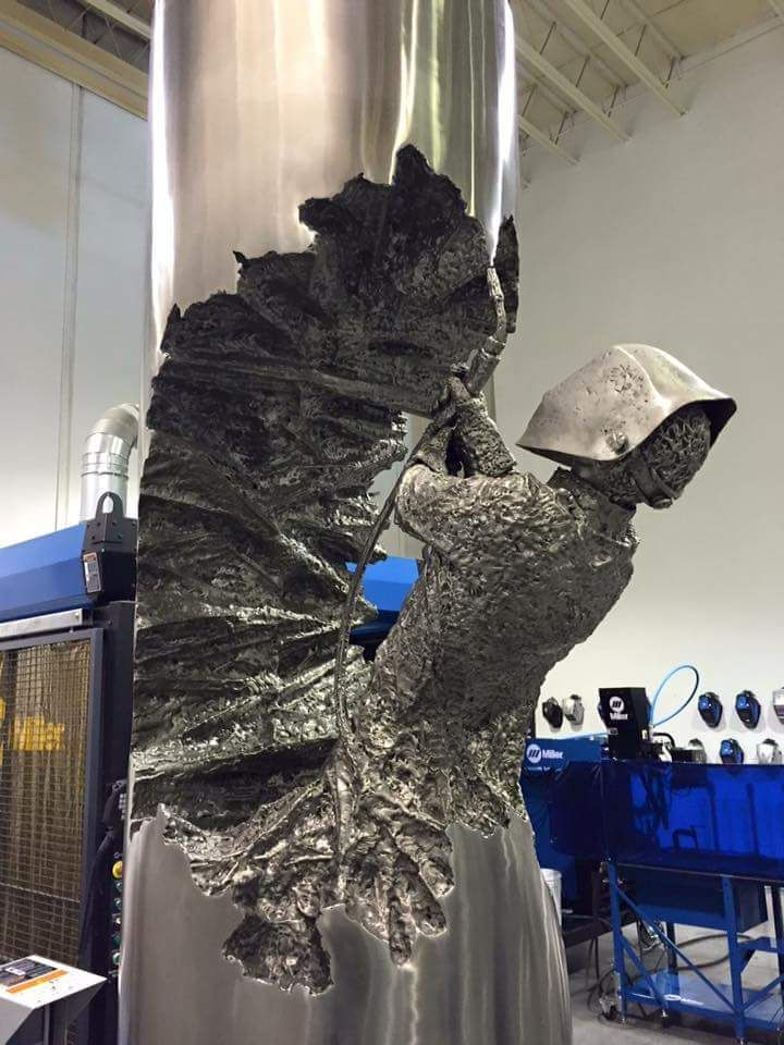 Welder Artfully Transforms Steel into Textured Sculptures Celebrating the Power of Ordinary Men
