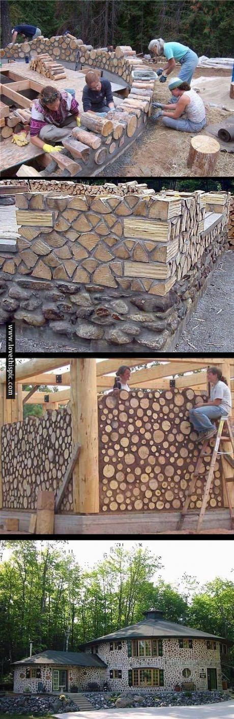 Cordwood masonry walls are low-cost, easy to build, aesthetically pleasing, and score high environmental points for making use of low-impact materials. Steffi Hoffi DIY und Kunsthandwerk