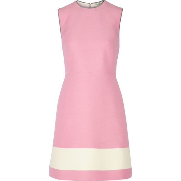 Fendi Wool and silk-blend gazar mini dress (8,175 MYR) ❤ liked on Polyvore featuring dresses, pink, wool dress, pink stripe dress, stripe dress, pink striped dress and short a line dresses