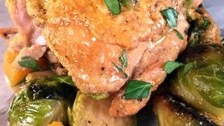Almond Braised Chicken Thighs with Butternut Squash and Brussels Sprouts Recipe   The Chew - ABC.com