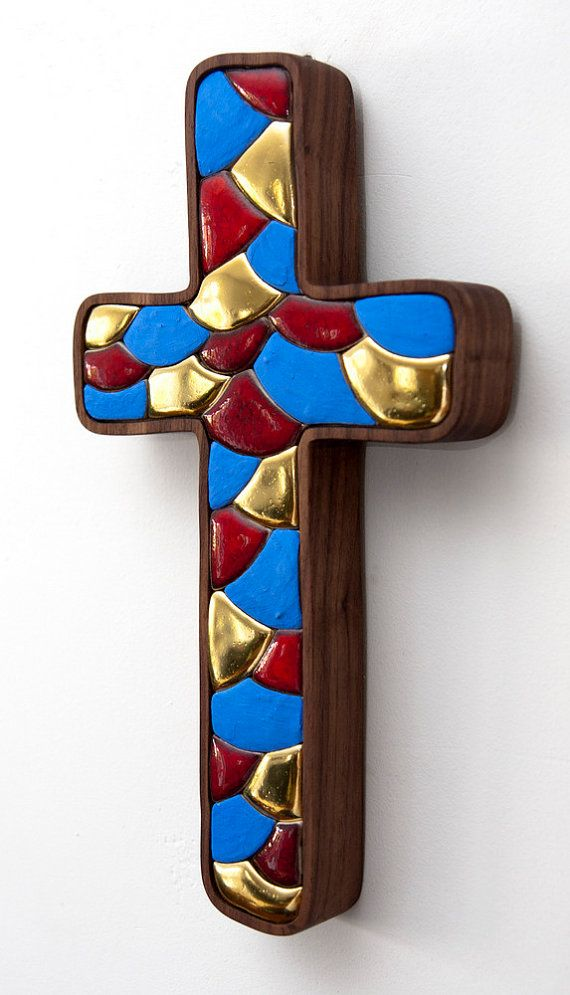Cross  Original artwork hand made ceramic mosaic by LuboMichalko, €100.00
