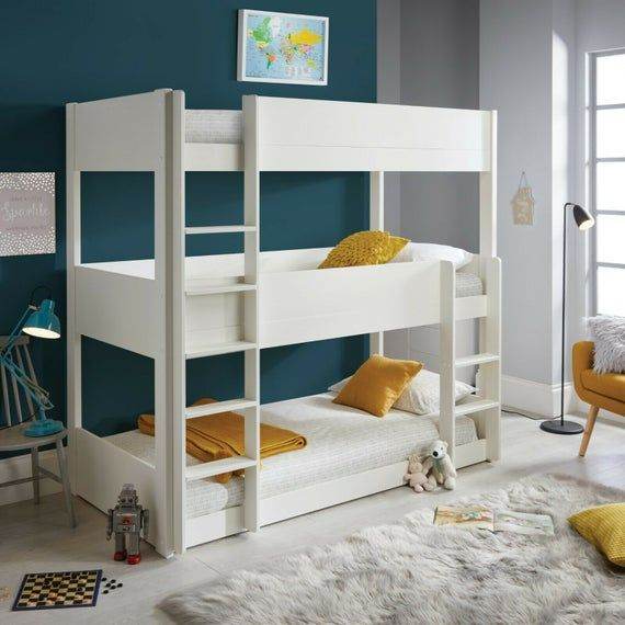 Sweden Solid Pine Wood White Triple Sleeper Three Tier Bunk Etsy In 2021 White Bunk Beds Triple Sleeper Bunk Bed Unique Bunk Beds