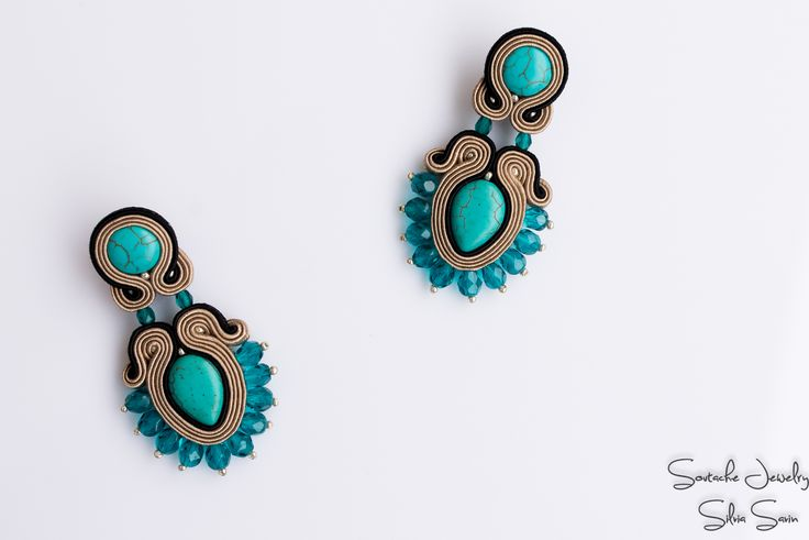 Soutache earrings with turquoise and Preciosa beads
