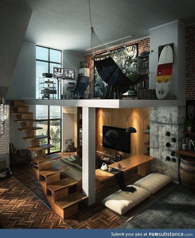 Cool bachelor pad with loft