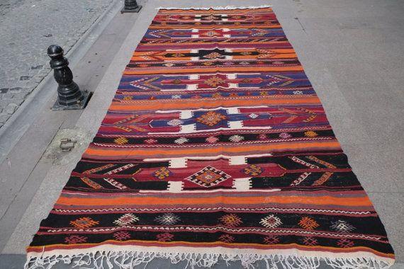 11.8 x 5.3 feet large rug handwoven large rug orange by kilimci