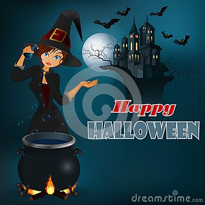 Vector Illustration about Happy Halloween message, graphic background with witch and moonlight scene