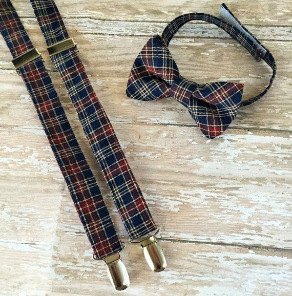 Navy and wine/burgundy Suspender set for boys, toddlers and babies made by Petits Enfants Closet! This plaid bow tie and suspender set will