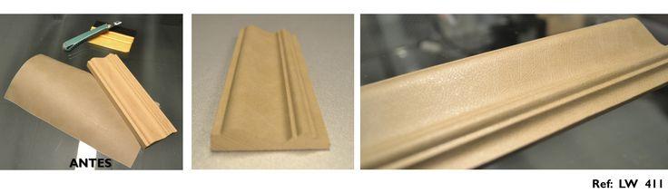 ¡¡Buenos días!! Hoy queremos recordaros que nuestros #revestimientos #autoadhesivos #infeel se adaptan a cualquier forma o superficie. Por este motivo, podemos revestir una moldura de madera, con un acabado tipo cuero que aporta muchísima textura. Este patrón pertenece a nuestra serie Luxury Wood (Ref: LW 411). Recordad que podemos revestir tanto un pequeño elemento, como esta moldura, o una pared entera… lo que se os ocurra. #EliteDiseños