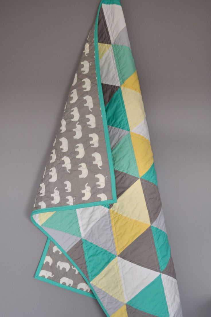 https://flic.kr/p/HuAyV1 | Gender Neutral Baby Quilt | Grey, green, yellow triangle baby quilt with elephants on the back.