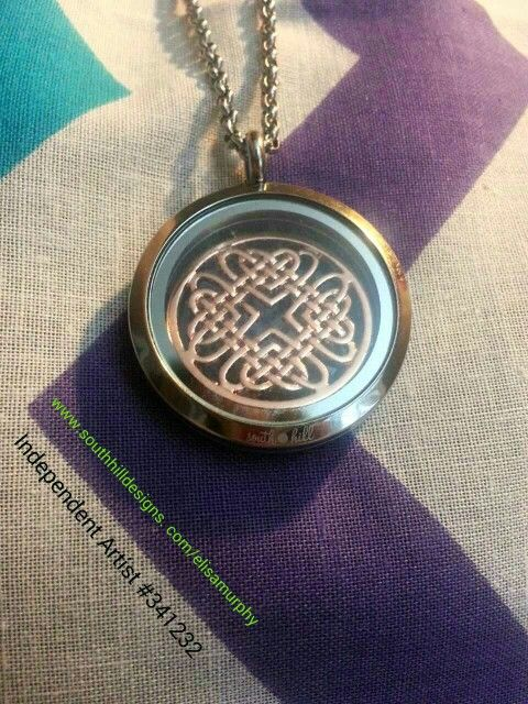 Large silver #locket today with #rose-gold celtic screen.  #customizable #shd www.southhilldesigns.com/elisamurphy. Join my team Independent Artist #341232.  Order yours today.  Www.Facebook.com/elisamurphySHD