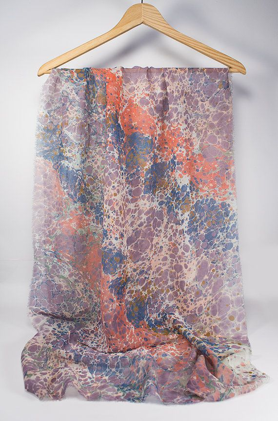 Hand Marbled  Marble Scarf  spring  fall  summer  by detcraft