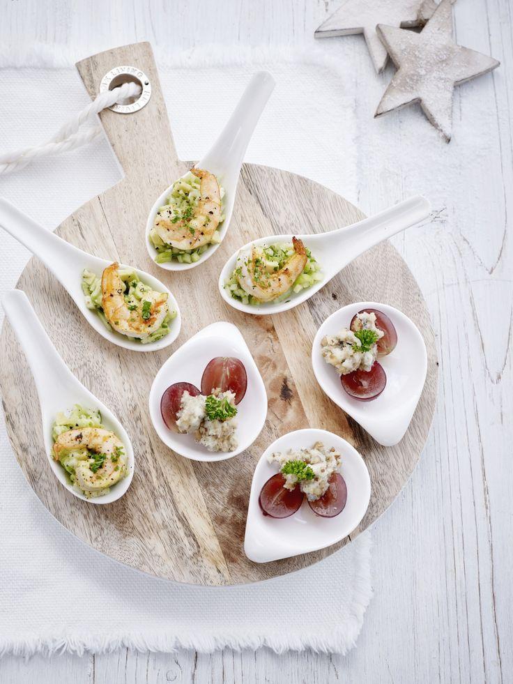 Lepelhapje met appel, avocado en scampi's - Libelle Lekker