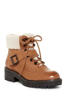 Kelsi Dagger Brooklyn - Monroe Genuine Shearling Detail Lace-Up Boot