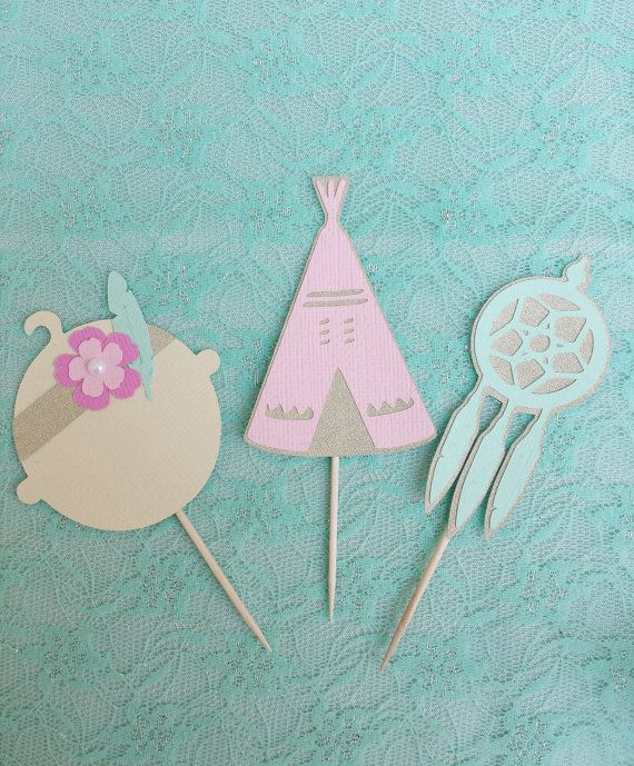 BOHO chic Baby Shower Cupcake toppers Set of 12// Pow Wow Party Theme Baby Teepee and Dream Catcher Cake Toppers//Bohemian 1st Birthday
