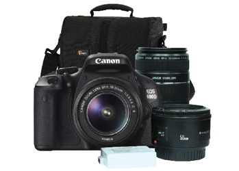 Canon EOS 600D Creative Kit 18-55mm/55-250mm/50mm f1.8, Battery, Bag