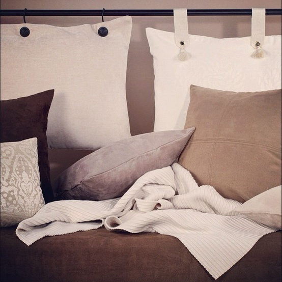 Pillow Headboard- another way you can use pillows as headboards by using our hardware, accessories and pillows. Hanging straps available in different fabrics and colors.