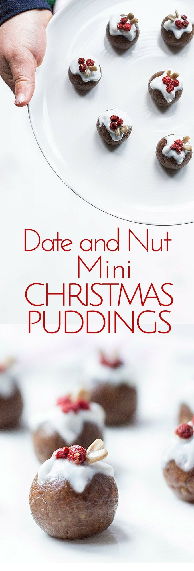 Date and Nut Mini Christmas Puddings. No refined sugar. Christmas spiced date and nut balls topped with a little greek yoghurt, goji berries and seeds. Great Christmas Kids Snack.