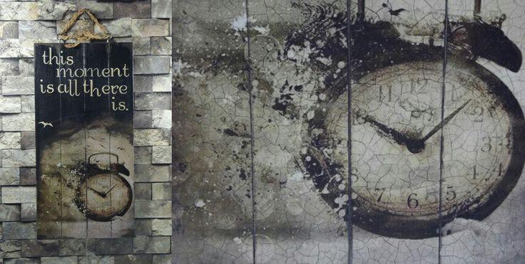 Tamamen el işçiliği ile, ahşap boyama, dekupaj ve stencil teknikleri kullanılarak dekorlanmış ahşap pano. Wood painting, handmade
