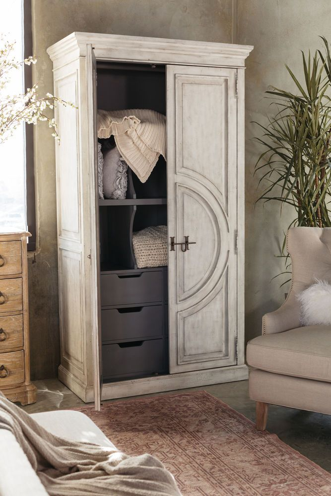 88″ Distressed Traditional Wardrobe in White