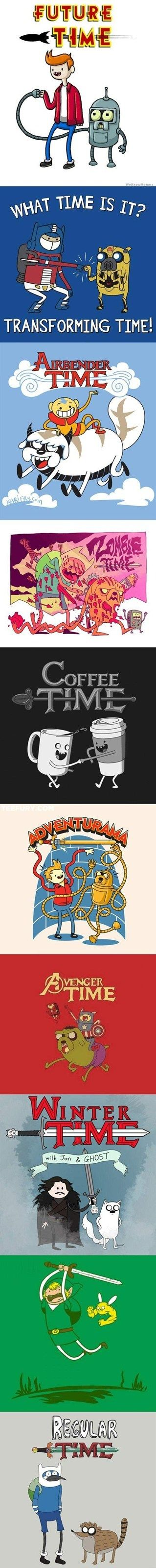 I combine Adventure Time and Regular together all the time by accident and call it Regular Time. xD