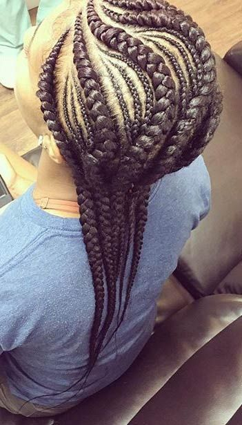 Larger and Smaller Cornrow Braids:
