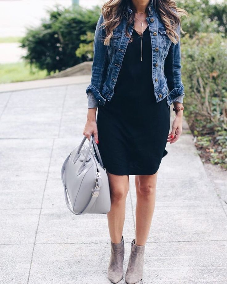 Black dress, denim jacket and grey booties for fall