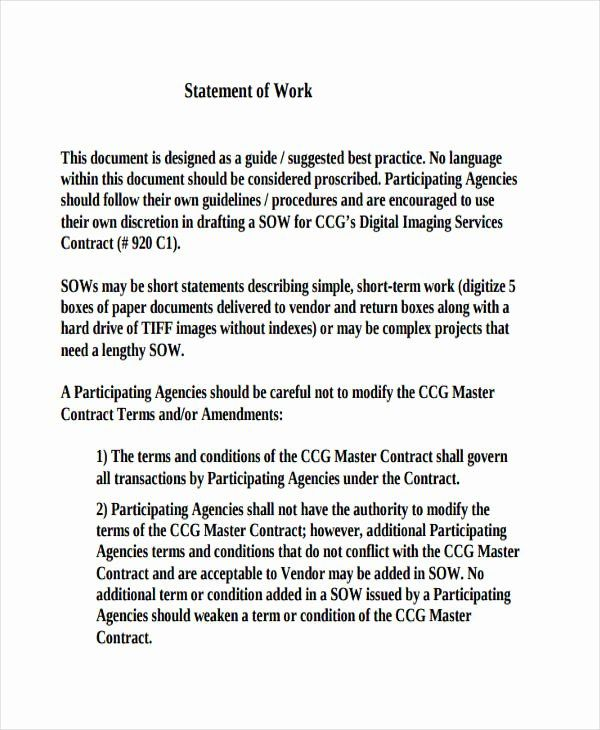 Statement Of Work Template Luxury 31 Statement Of Work Examples Samples Pdf Word Pages Statement Of Work Statement Template Statement
