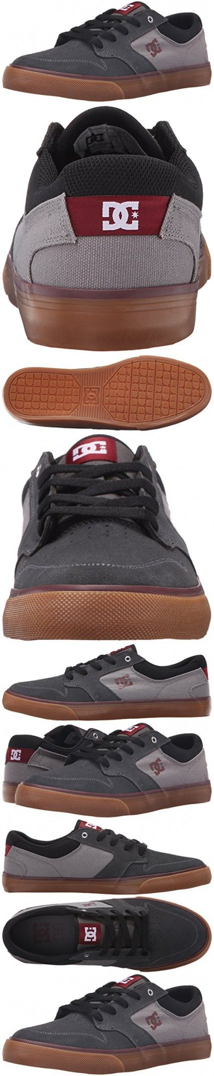 DC Men's Argosy Vulc Skate Shoe, Charcoal/Black/Red, 10 M US