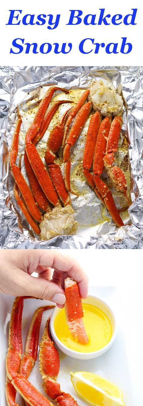 Snow Crab brushed with a garlic butter sauce and seasonings baked in 10 minutes. They come out absolutely perfect every time!