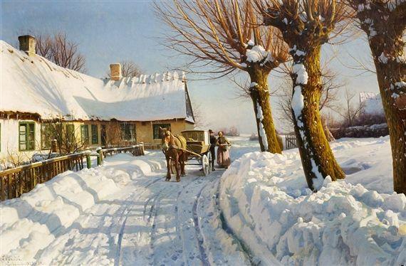 """Peder Mørk Mønsted, """"Danish countryside, winter"""""""