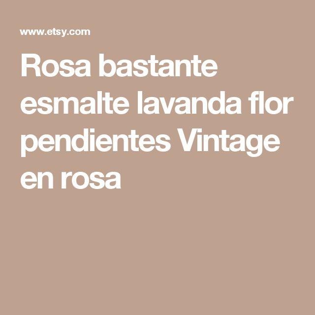 Rosa bastante esmalte lavanda flor pendientes Vintage en rosa