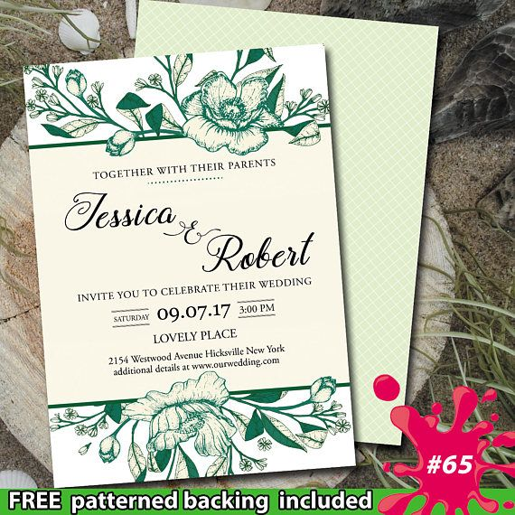 25+ Best Ideas About Green Wedding Invitations On