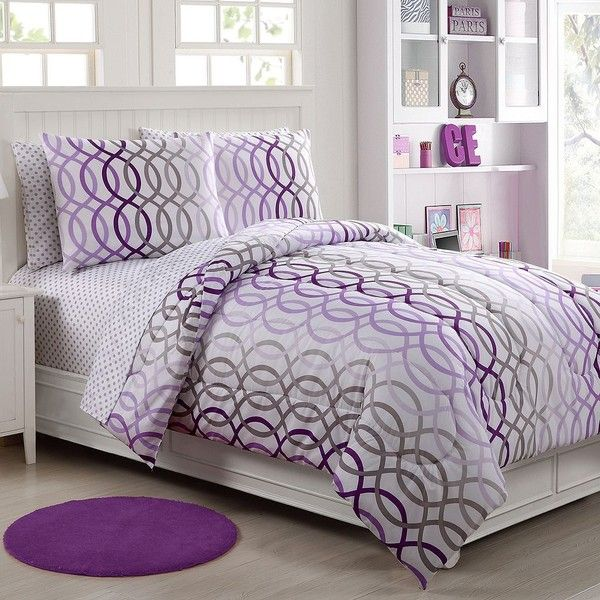 Vcny Lauren Infinity Bed Set, Purple ($80) ❤ liked on Polyvore featuring home, bed & bath, bedding, purple, polka dot pillow case, purple bedding sets, purple pillow cases, dot bedding and pattern bedding