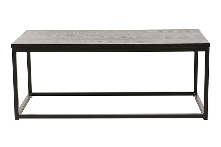 120x60 H48 cm mørk brun ask finer, understell i sort lakkert stål