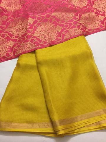 425504cdb196f Pure kota silk saree with banarasi brocade blouse
