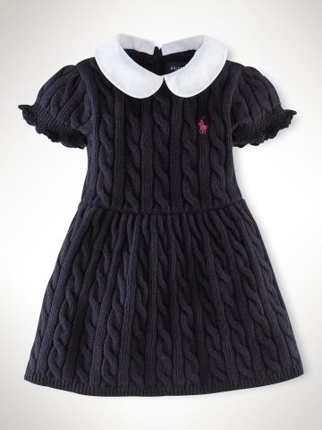 Puff-Sleeved Cable Dress - Infant Girls Dresses & Rompers - RalphLauren.com (Sale: $56.25)