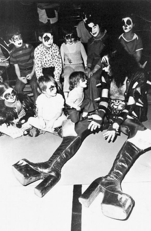 Gene Simmons hanging out with young KISS fans, 1970s