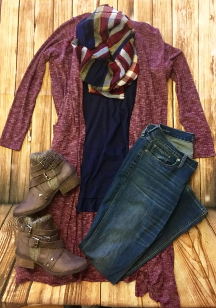 Style Casual Easy Winter Fall  Lularoe Sarah Cardigan and Perfect T #lularoelizkeenan #chasinglulas  Not Rated Booties, Lucky Brand Jeans and Plaid Tartan Scarf