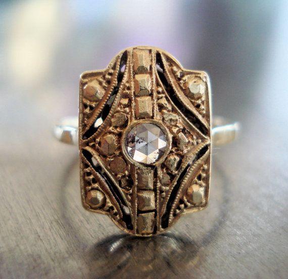 Art Deco Rose Cut 14k Diamond Ring from France, US size 6Cut Diamonds, Diamond Rings, Rose Cut, Diamonds Rings, Art Deco Diamond, Deco Rings, Art Deco Ring, Deco Rose, Deco Diamonds