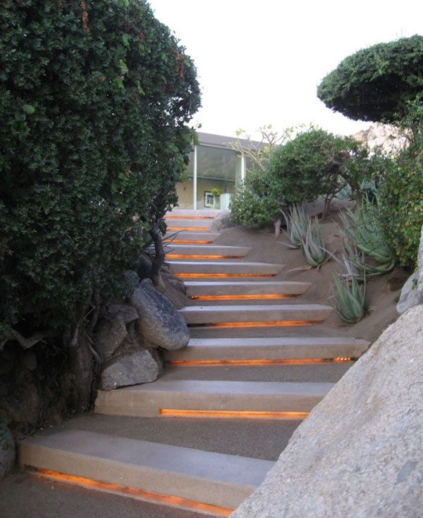 how to make concrete steps with lights