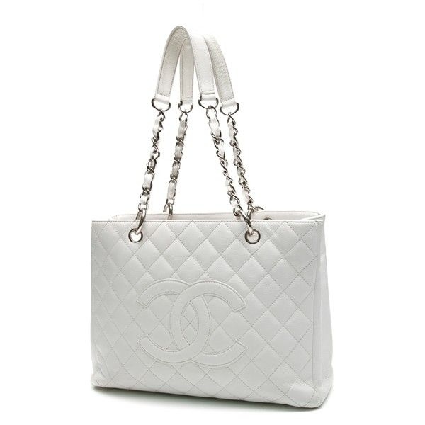 Pre Owned Chanel White Quilted Caviar Leather Grand Ping Tote Bag See More Bags