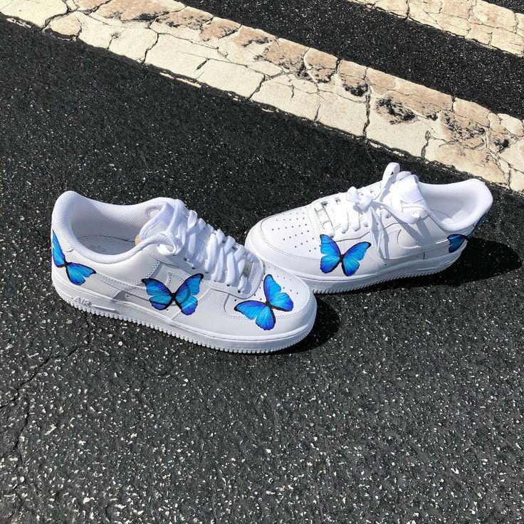Custom Blue Butterfly AF1's in 2020 Butterfly shoes