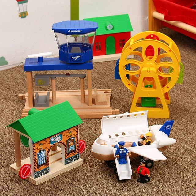 Wooden DIY Train Track Railway Building Accessories Kids Educational Toy