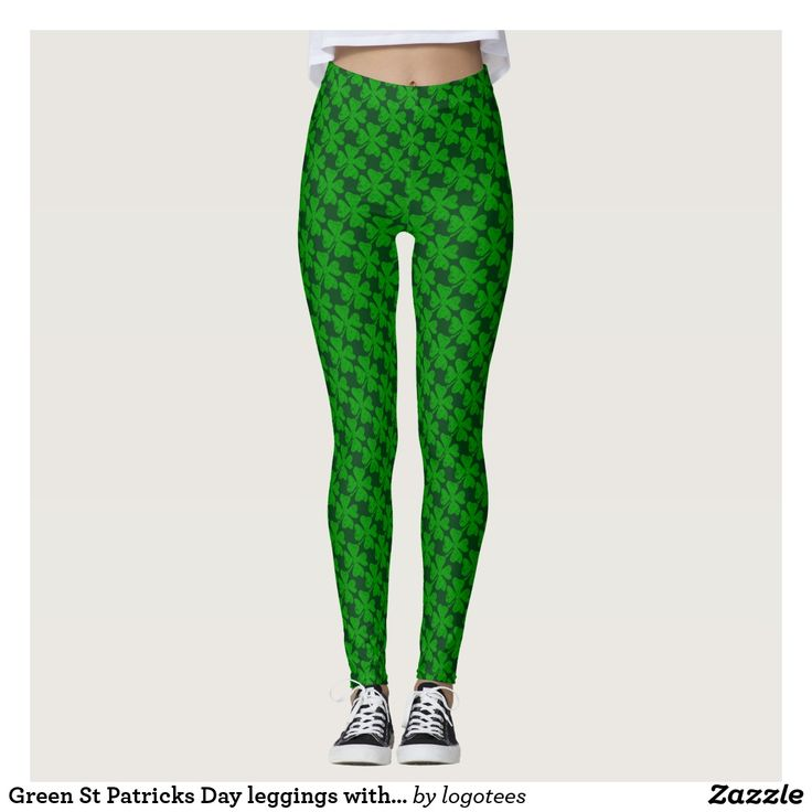 Green St Patricks Day leggings with 4 leaf clovers leggings for Irish girls. Shamrock print design.