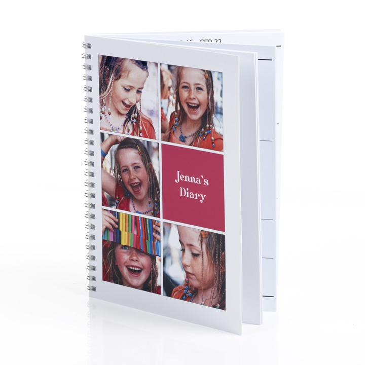 Personalised Diary. Create the cover and fill the inside pages with special dates and your favourite photos.    http://www.momento.com.au/pages/create_personalised_diaries
