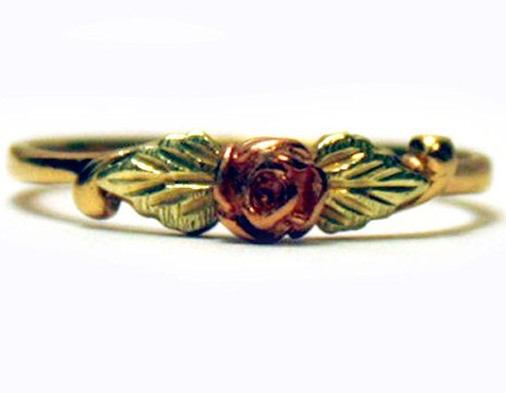 10k black hills gold wedding band solitaire promise ring floral leaf cabbage rose yellow green gold sz 6 12 isj 2