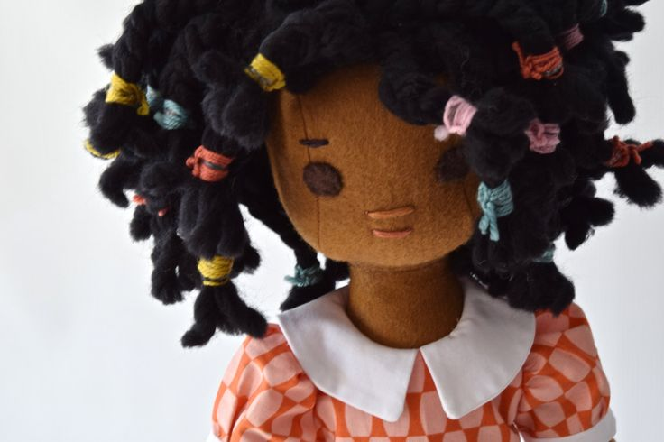 Rag Doll with Wardrobe, Handmade, African American, by PhoebeandEgg on Etsy