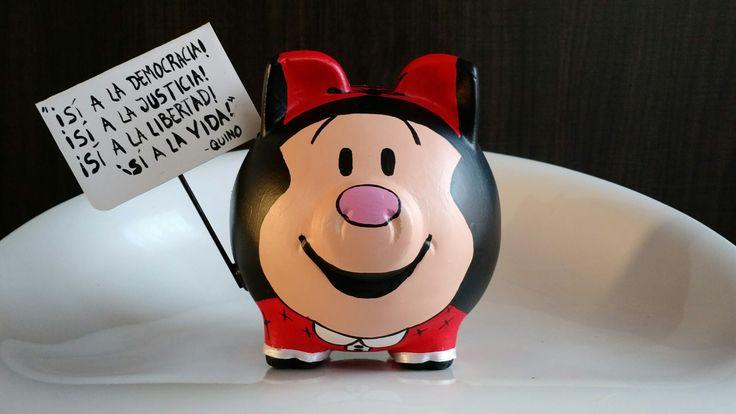 Alcancía pintada Mafalda (Quino) @porkysialcancias
