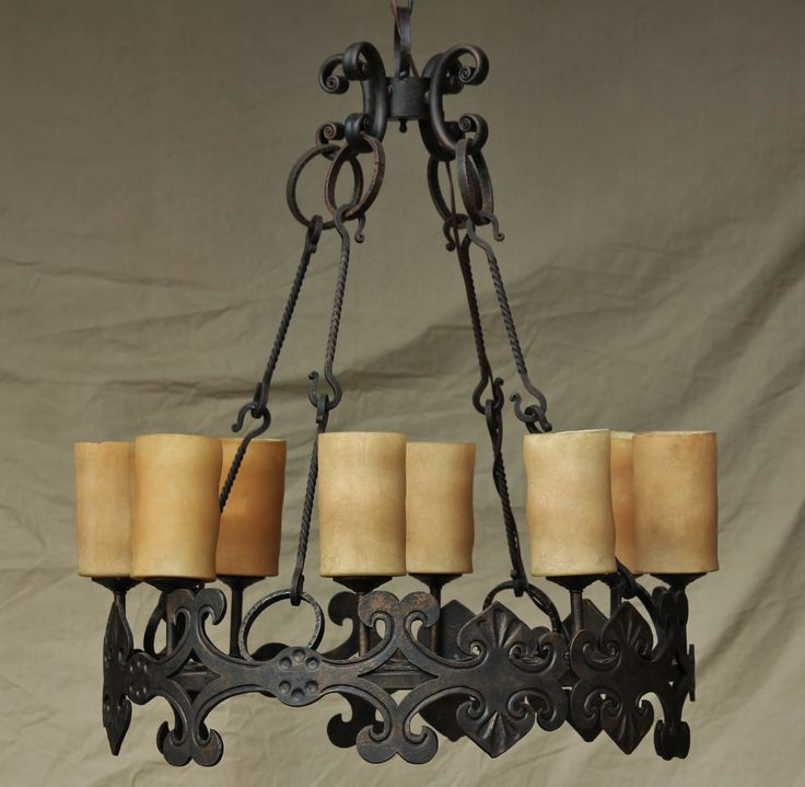 Tuscan Gothic Meval Castel Chandelier Hand Forged Wrought Iron